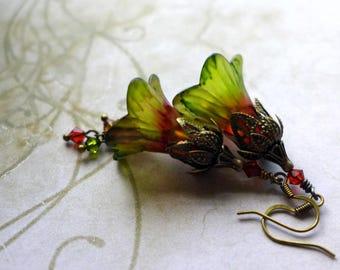 "Lucite Flower Earrings, ""Poppy Field"", Victorian Earrings, Boho Earrings, Hand Painted, Dangle Earrings, Flower Earrings, Red and Green"