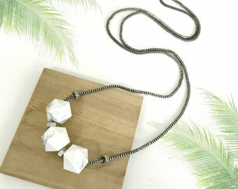 Marble silver necklace, chunky smoked white beads, geometric beaded necklace, minimalist white, nulika