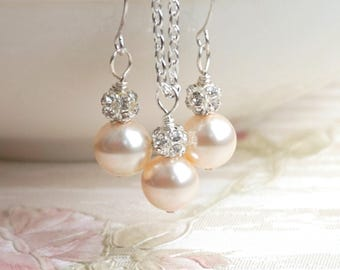 Set of 2 Blush Pearl Necklaces And Earrings Pearl Bridesmaid Gift 2 Blush Creamrose Pearl Jewelry Set 2 Blush Wedding Jewelry Girl JS022