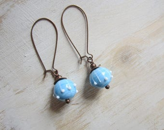 Turquoise blue beads, Lampwork bead earrings, copper
