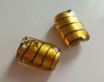 set of 2 yellow lampwork glass beads