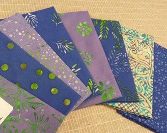 Batik textiles fat 1/8 bundle of 8 in soft blues and greens