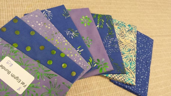 Batik Textile Bundle of 8 Fat Eighths in Soft Heather Blue, Lavender and White Leaves, Dots Swirls and Modern Geometric Prints