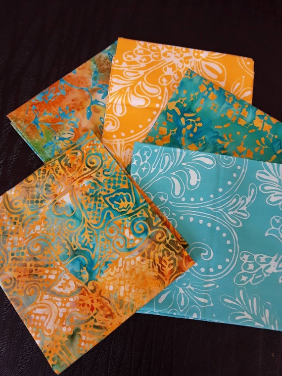 Batik Textiles Fat Quarter Bundle of 5 Hand Cut Complimentary Colors. Group 5BO Aqua and Orange Quilting Prints With Tropical Designs