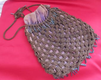 Vintage Shoelace Purse; hand knotted; lined and draw string closing; early 1900's