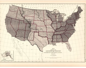 USA Territory Aquisition Map 1776-1874 Reprint 9th Census Atlas