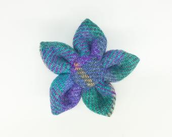 Purple and Green Harris tweed corsage pin