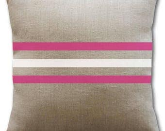 Natural linen, white and fuchsia pink pillow cover