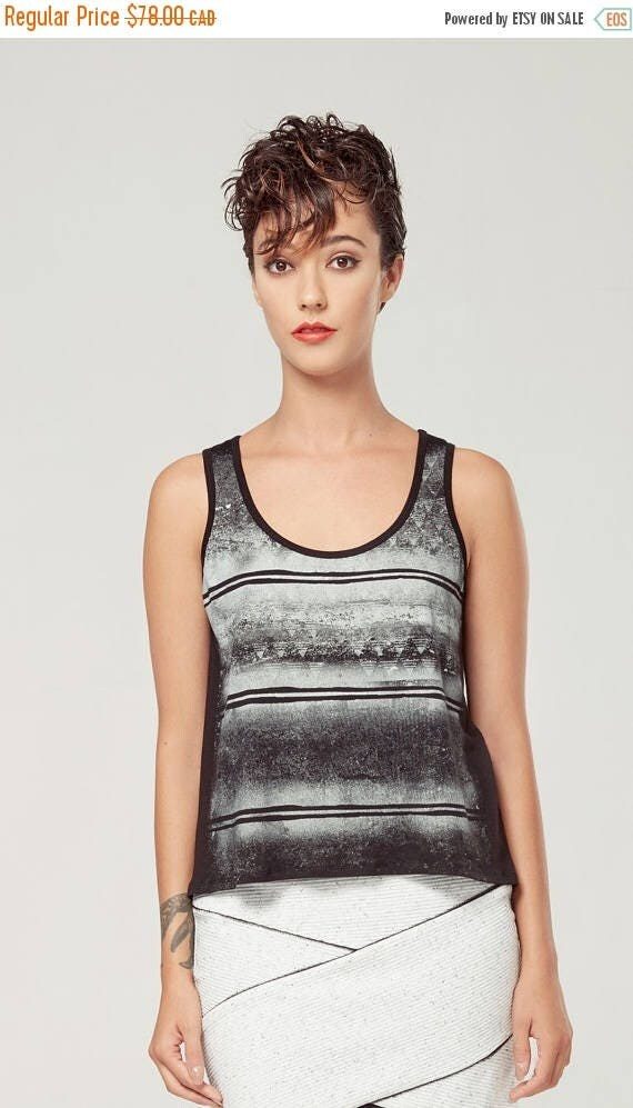 SOLDE BOURGEON - sleeveless minimalist top, cami, camisole for women - black white with edgy and grunge silkscreen