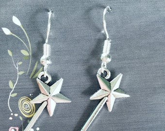 Tibetan silver magic wand earrings on nickel free ear wire.