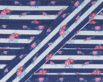 5/8 Thick Navy Stripe with Pink Flowers Fold Over Elastic
