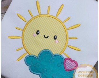 ON SALE Happy Sun Machine Embroidery Applique Design