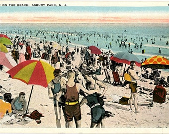 Asbury Park New Jersey Beach Scene Postcard 1926
