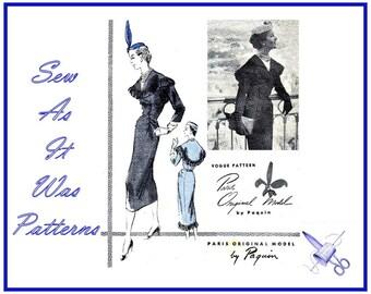 """RARE 1950s Paquin Vogue Paris Original Model 1282 One Piece Dress Cape Collar Fringe Button Trim Vintage Sewing Pattern Size 16 Bust 34"""" 87"""