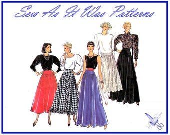 "1980s Style 4915 Vintage Sewing Pattern Waist Yoke Flared Skirts Evening Floor Length Ruffle Trim Size 12 14 16 Waist 34 36 38"" 92 97 102cm"