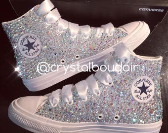 Fully Blinged Covered Crystal Chuck Taylor Converse High Tops - WHITE