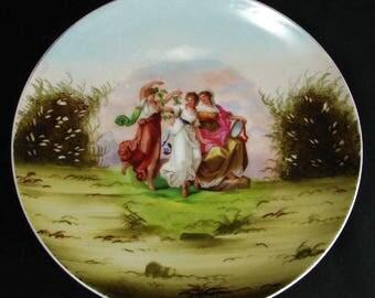 Austrian c1904 Three Graces Decorative Wall Plate ~ Angelica Kauffmann ~ Victoria Schmidt & Co.