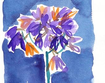 Lilies. Original watercolor sketch.