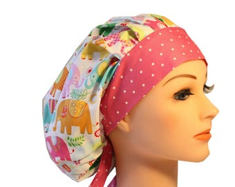 Medical Cap Surgical Hat Chef     Hat Bouffant Elephants Blue Green Orange  Pink  2nd Item Ships FREE