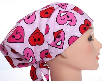 Scrub Hat Cap Chemo Bad Hair Day Hat  European BOHO Hearts Valentines Emoji Smiles Pink Red 2nd Item Ships FREE