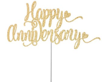 Happy Anniversary Cake Topper, Anniversary Topper, Wedding Anniversary Topper, Anniversary Decor, 1st Anniversary, First Anniversary Party