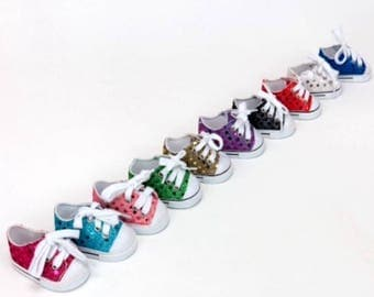 Sequinned sneakers to fit 18 inch dolls such as American Girl, Our Generation etc