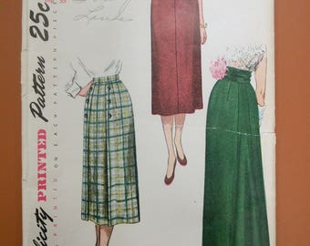 Simplicity 3341 Straight Maxi Skirt Casual Formal Back Detail Vintage Sewing Pattern 1940s 40s 1950 Size 26