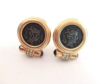 Vintage Ciner Coin Earrings