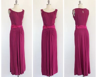40s Berry Rayon Crepe Dress / 1940s Vintage Maxi Gown Dress / Large / Size 10