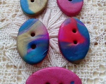 5 oval polymer clay buttons, handmade buttons, multicolour buttons, red, blue, gold, sewing, knitting, card making, unique buttons