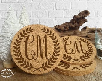 Set of 6 Cork Coaster Engraved Personalized Laurel Wreath Monograms Initial Groom Bride Bridesmaid Groomsman Rustic Wedding Gift