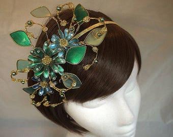 summer tiara, Flower fascinator, Green fascinator, mother of the bride, peacock colour headdress