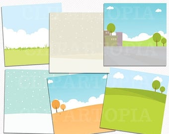 50% OFF SALE Season Landscapes Papers Pack 12 x 12 and 11 x 8.5 inches  / Scenery Paper Pack 12 x 12 and 11 x 8.5 inches for Personal and Co