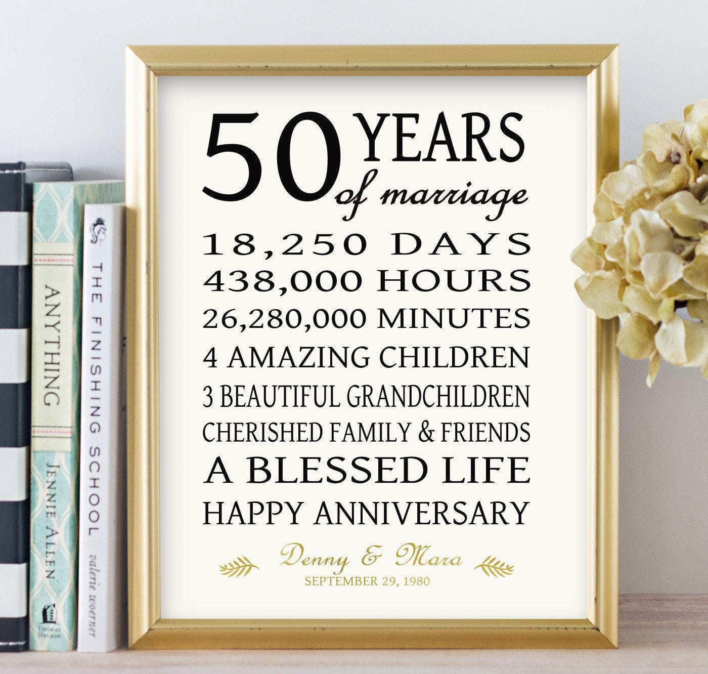 One Year Wedding Anniversary Gifts: 50th Anniversary Gift For Parents Golden 50 Years Wedding