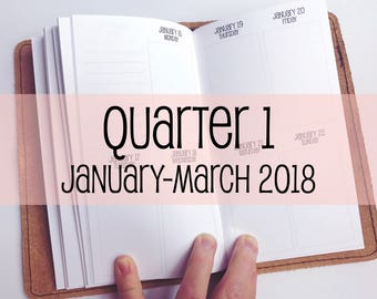 Traveler's Notebook PERSONAL Size Week on Two Pages in VERTICAL Layout {Q1 | January-March 2018} #700-31
