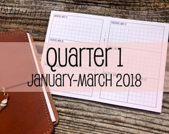 Traveler's Notebook A6 Size Week on Two Pages Grid Horizontal {Q1 | January-March 2018} #500-16