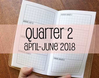 Traveler's Notebook PERSONAL Size Week on Two Pages Grid Horizontal {Q2 | April-June 2018} #700-17