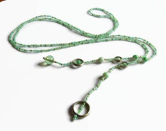Seed bead lariat, mint green y necklace, Bohemian lariat necklace, delicate beaded lariat