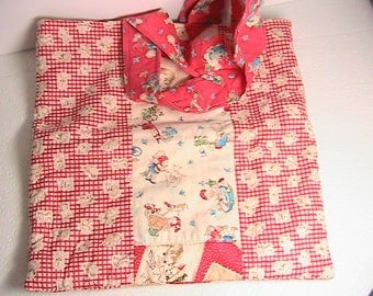 Diaper Bag, Vintage Baby Cloth Diaper Bag, Handled Diaper Bag, Red and White Puppy Dogs