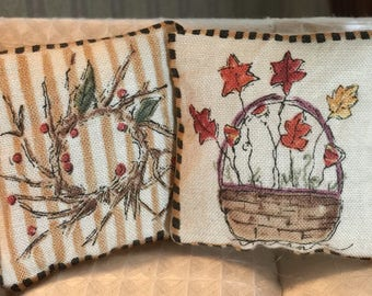 Pair of Two Country Style Fall Pillows in One Inch Scale for a Dollhouse