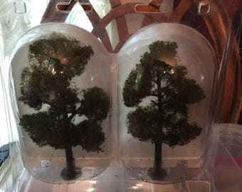 Two Seven Inch High Artificial Aspen Trees for Using with Dollhouse Landscaping or Railroad LYouts