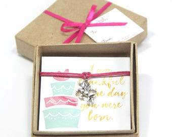 Unicorn bracelet- gratitude bracelet, pink unicorn bracelet, unicorn party favor, unicorn birthday gift, gift for daughter, unicorn birthday