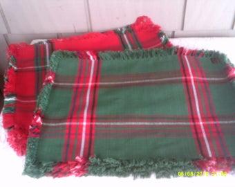 Ten Vintage Woven Cotton Plaid Holiday Placemats, Green Plaid Placemats, Fringed Placemats