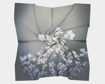 Gray Scarf, Wearable Art, Digital Print scarf, Nature Scarf, Flower Photo Scarf, Wedding shawl, Flower Scarf, Wall hanging, Gift for Women