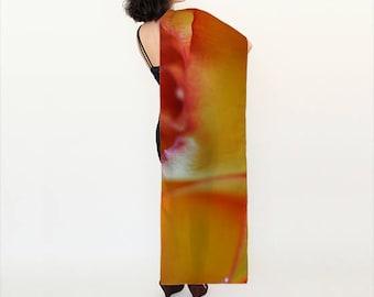 Orange Rose Scarf, Wearable Art, Digital Print scarf, Rose Scarf, Photo Scarf, Wedding shawl, Flower Scarf, Wall hanging, Gift for Women