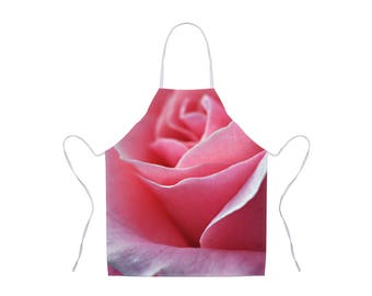 Pink Flower Apron, Rose Floral Apron, Nature Photo Apron, Gift for Chef, Apron for Women, Pink Rose Apron, Hostess Gift, Adult Kitchen Apron