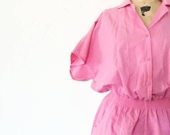 Vintage Pink Short Cotton Romper / Playsuit Nineties Jumpsuit / Size Small