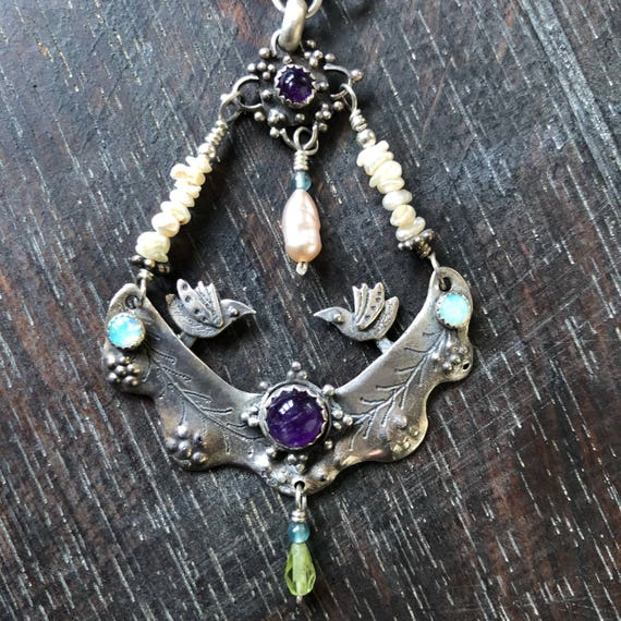 Handmade sterling freshwater pearl,amethyst opal, crystal necklace