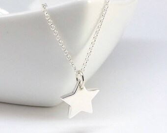 Star Necklace Sterling Silver, Solid Sterling Silver, Handmade Necklace, Chunky Star Pendant, Birthday Gift