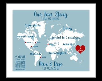 1 Anniversary Gift for Husband Spouse Wife 9th Anniversary Date 9 Year Anniversary Wedding Gift paper Anniversary Travel Map Anniversery